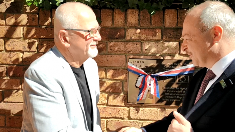 Gottwald with the Czech Ambassador, Tomáš Dub, in front of the Czech Embassy during the revealing of his bronze plaque.